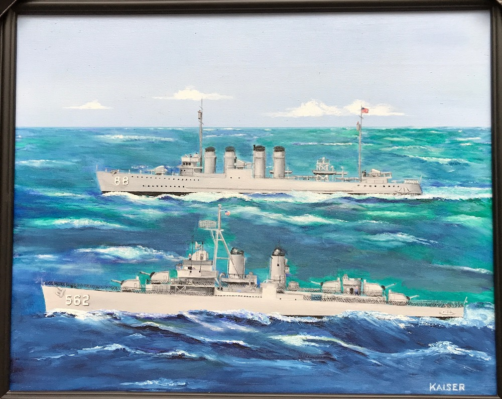 Oil painting of the USS Robinson by Kaiser